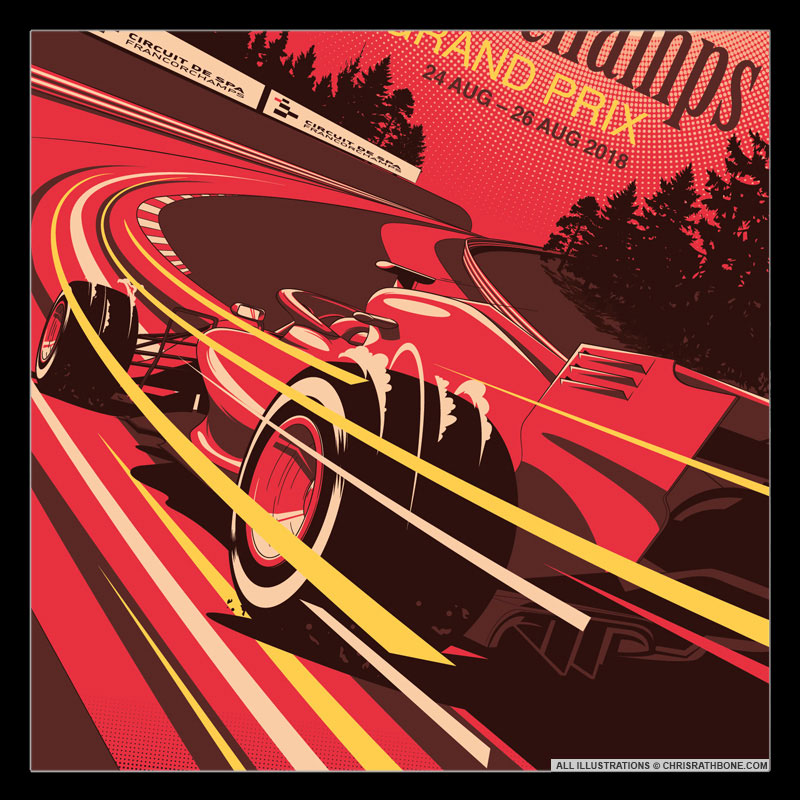 2018 F1 Race Poster Illustrations by Chris Rathbone