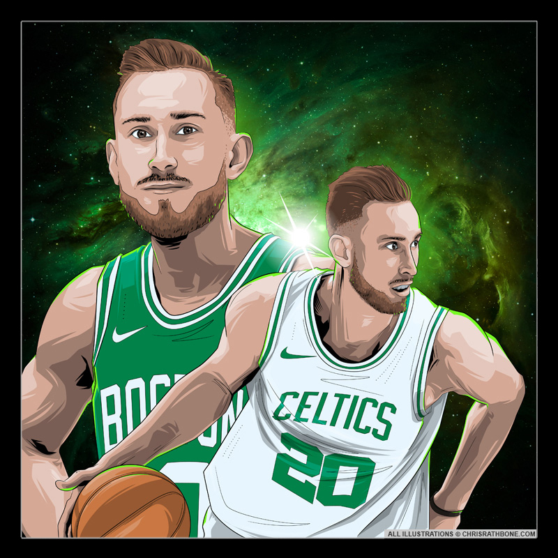 Boston Celtics Player Illustrations by Chris Rathbone