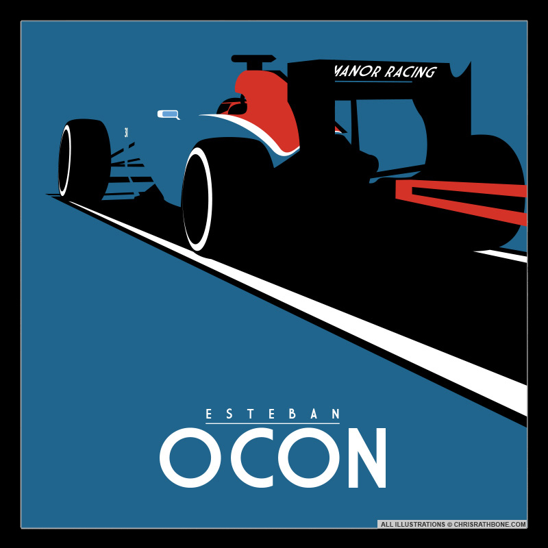 Retro F1 style illustrations by Chris Rathbone