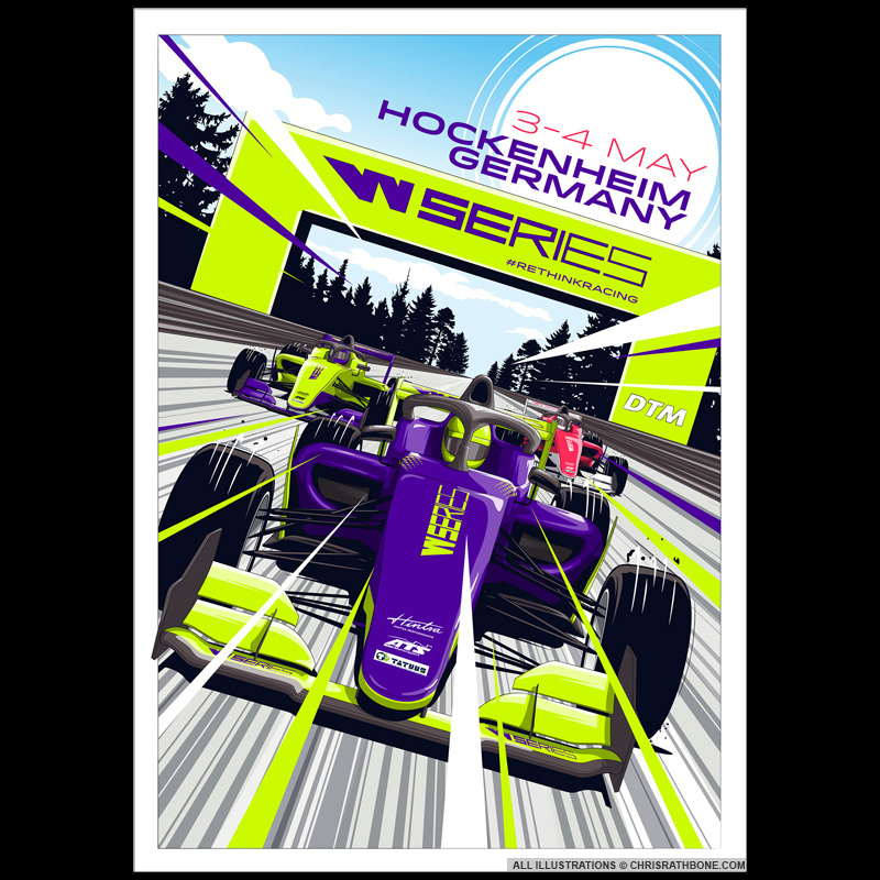 WSeries Race poster Illustrations by Chris Rathbone