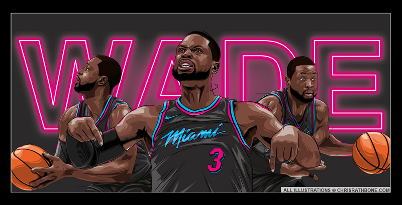 Dwayne Wade Miami Heat Illustrations by Chris Rathbone