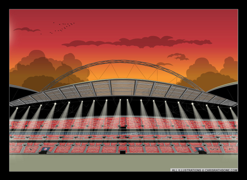 Wembley Stadiums illustrations by Chris Rathbone
