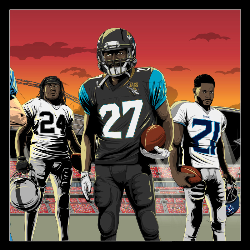 NFL Wembley illustrations by Chris Rathbone