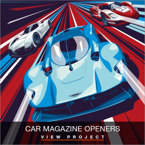 Car Magazine openers illustrations by Chris Rathbone