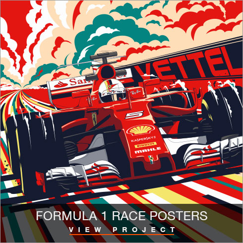 Formula 1 Race poster Illustrations by Chris Rathbone