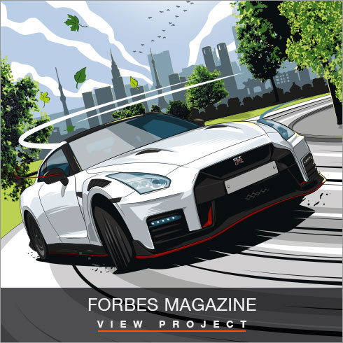 Forbes Magazine Car illustrations by Chris Rathbone