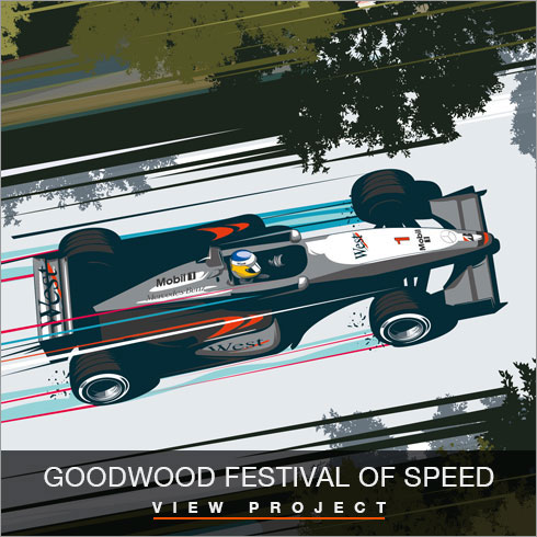 Goodwood Festival of Speed illustrations by Chris Rathbone
