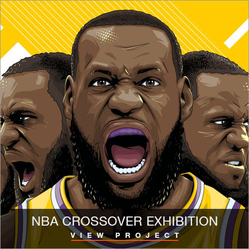 NBA Crossover Exhibition illustrations by Chris Rathbone