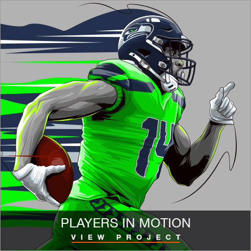 Players in motion illustrations by Chris Rathbone
