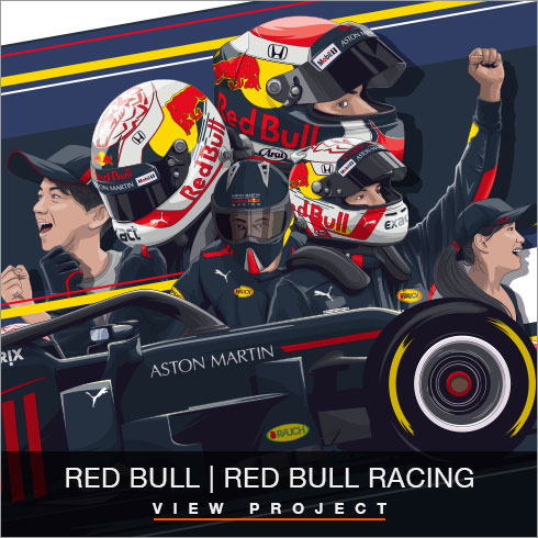 Red Bull Racing illustrations by Chris Rathbone