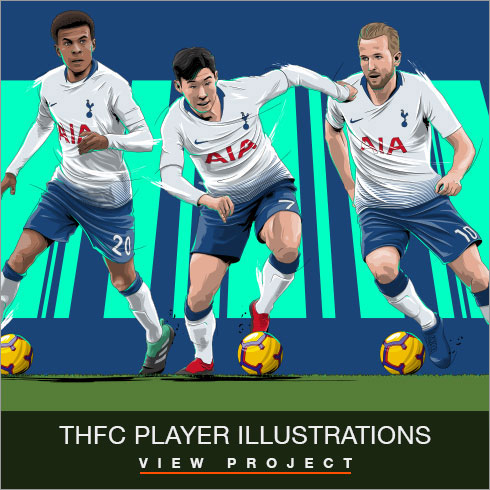 Tottenham Hotspur Player illustrations by Chris Rathbone
