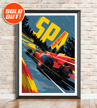 F1 Poster illustration Spa 2021 print by Chris Rathbone
